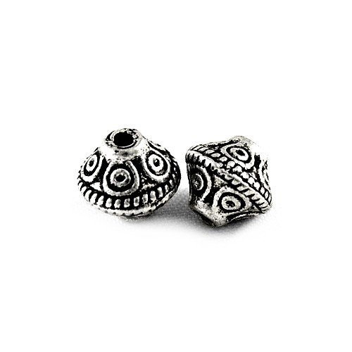 (Packet 30 x Antique Silver Tibetan 7mm Bicone Spacer Beads HA15830 (Charming Beads))