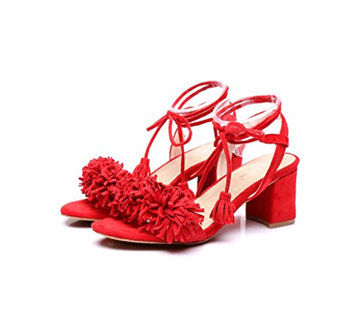 Elegante 38 Größe Sandalen Quaste Rot Farbe Sexy Dream Riemen Rote High Lederschuhe Heels Knöchelschuhe O7UnIZq