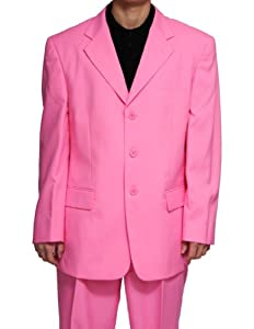 B005C2AB6O New Men's 3 Button Single Breasted Pink Dress Suit