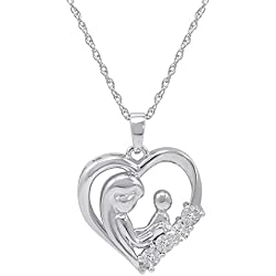 Mothers Love Diamond Heart Pendant-Necklace in Sterling Silver
