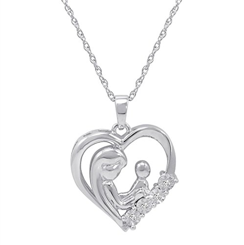 Mother and Child Diamond Heart Pendant-Necklace in Sterling Silver