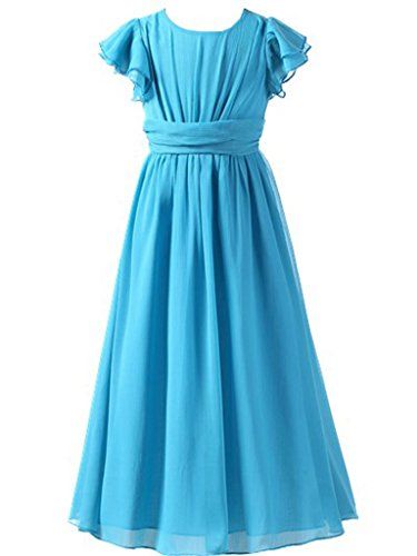 Happy Rose Flower Girl's Dress Prom Party Bridesmaid Dress Long Aqua Blue 14 ()