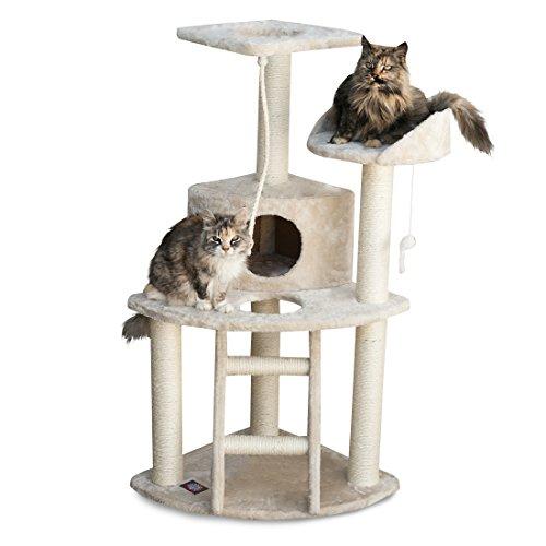 Majestic Pet Products 48 inch Beige Casita Cat Furniture Condo House Scratcher Multi Level Pet Activity Tree ()