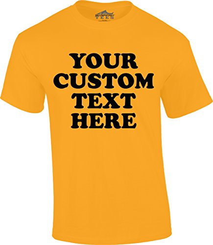 Yellow T-shirt Text - Custom Front Short Sleeve T-Shirt (Unisex, Youth/Adult) - Add Your Custom Text Gold Yellow