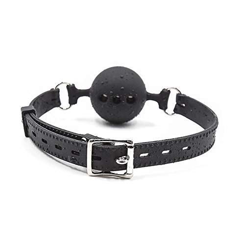 Mayli Leather Mouth Ball Beautiful Black Ball Silicone Stage Props Open Mouth Roleplay for Women and Men