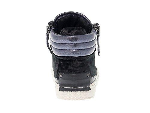Crime London Women's 25325A1720 Blue/Black Leather Hi Top Sneakers