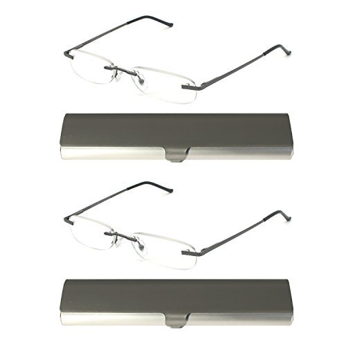 EYE-ZOOM 2 Pack Metal Rimless Reading Glasses with Spring Hinge Lightweight Slim Gunmetal and Silvery Aluminum Case Reader for Comfort Fit Men and Women Choose Your Magnification - Narrow Face Male