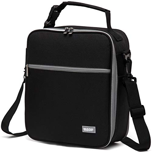 (Lunch Bag for Men,Reusable Lunch Box Containers for Adults with Detachable Shoulder Strap, Insulated Lunch Coolers for Work Black)