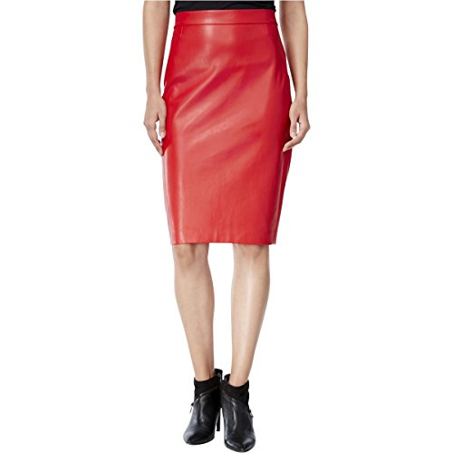 Bar III Womens Faux Leather Knee-Length Pencil Skirt Red L (Leather Pencil Skirt Pleated)