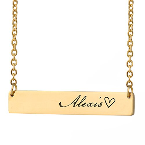 HUAN XUN Alexis Name Customized Name Necklace Bar Initial Necklace Personal Jewelry Birthday Valentine Gift ()