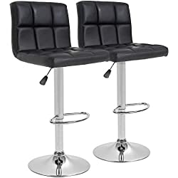 Counter Height Bar Stools Set of 2 PU Leather Swivel BarStools For Kitchen Stool Height Adjustable Counter Stool Barstools Dining Chair With Back
