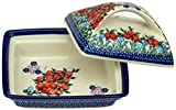 Ceramika Boleslawiecka Kalich Polish Hand Painted Butter Dish (Red Currant)