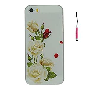 DD Embossed White Flowers Pattern PC Hard Back Cover Case with Touch Pen for iPhone 5/5S