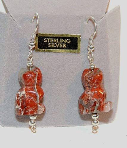 Sterling Silver and Red Jasper Cat Wire Earrings DWK-4747