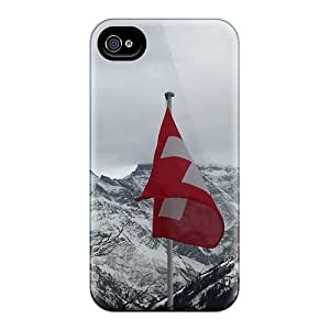 linJUN FENGNew Tpu Hard Case Premium Iphone 4/4s Skin Case Cover(the Swiss Flag Its Mountains)
