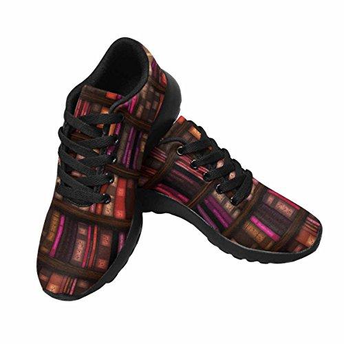 Interesprint Mujeres Trail Running Zapatillas Jogging Ligero Deportes Walking Athletic Sneakers Bookshelf Patrón Multi 1
