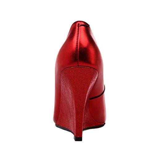 9CM Court vadxpg UK on Closed Toe 6 Shoes Heel Slip Vaneel Wedge Women Red RgSqIzWOI