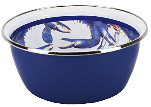 Enamelware - Blue Crab Pattern - 3 Cup Salad Bowl