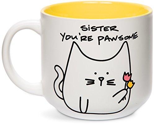 Pavilion Gift Company Blobby Cat, Funny Cat Sister Youre Pawsome Mug, 18 oz, Yellow