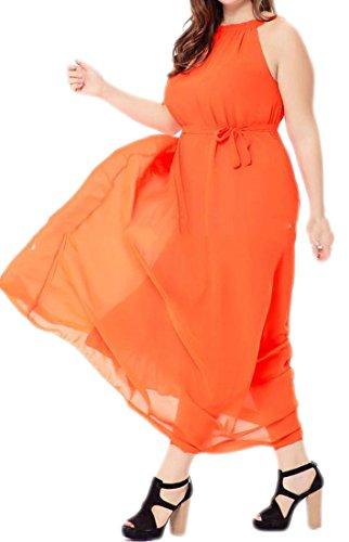 Cromoncent Maxi Orange Sleeveless Strap Summer Womens Flowy Belted Chiffon Dresses rnfqvrPwC