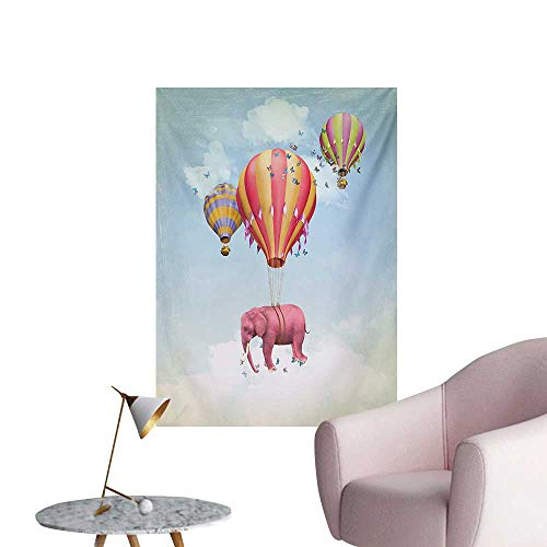 (Unpremoon Elephant Photographic Wallpaper Pink Elephant in The Sky with Balloons Illustration Daydream Fairytale TravelMulticolor W32 xL48 Cool Poster)