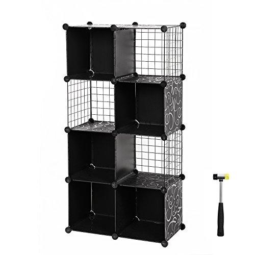 Songmics armoire ètagère de rangement en plastique plaque de treillis couleur noire motif imprimé à fleur 9 Cubes marteau en caoutchouc gratuit 96 x 31,5 x 96 cm LPM115H