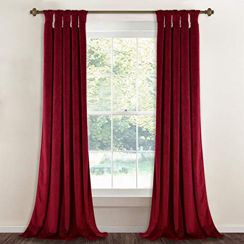 StangH Room Darkening Red Velvet Curtains - Bedroom Luxury Heavy Velvet Drapes with Twist Tab Top Noise Absorbing Window Covering for Home Theater/Holiday Fete, 52