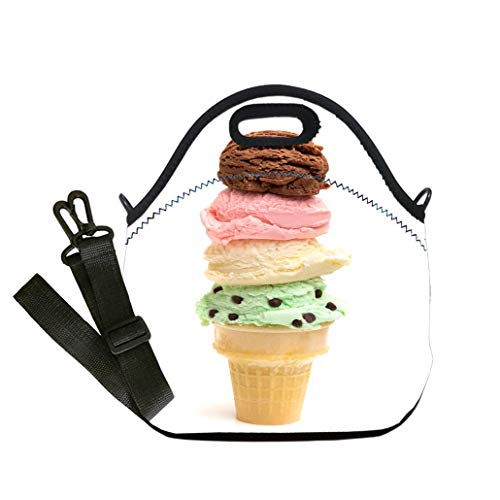 - 3D Print Neoprene Reusable Cooler Fashion Lunch Bag Quadruple Stack of Ice Cream Scoops on a Sugar Cone Student Company School, Multicolor, Adults and Children