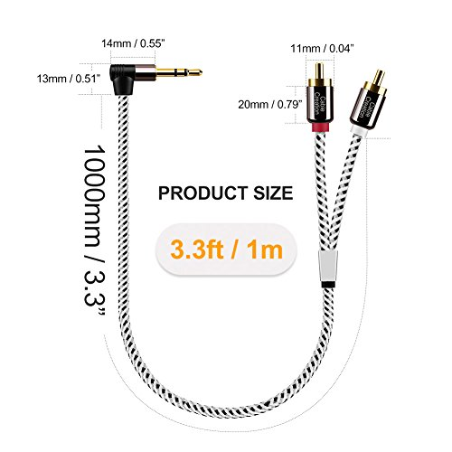 3.5mm to RCA,CableCreation 5ft Angle 3.5mm Male to 2RCA Male Auxiliary Stereo Audio Y Splitter Gold-Plated for Smartphones Tablets MP3 Speakers,Home Theater,HDTV,1.5M