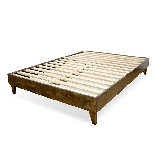 (eLuxurySupply Wood Bed Frame - Made in The USA w/100% North American Pine - Solid Mattress Platform Foundation w/Pressed Pine Slats - Tool-Free Assembly -)