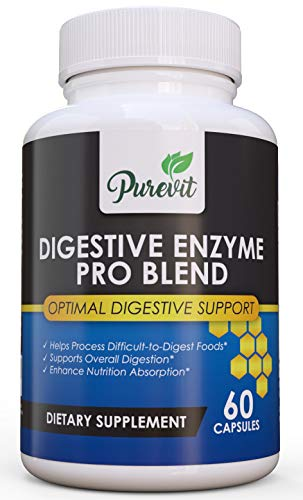 Purevit Digestive Enzymes Vegetarian Plus Probiotics - Best Digestive Enzyme Supplements For Digestion Aid & Lactose Absorption w Lactase,Lipase,Papain, Non-GMO, For Bloating,Constipation + Gas Relief