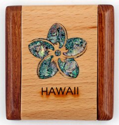 Compact Mirror of a Wooden Rectangle with an Abalone Inlay Plumeria ()