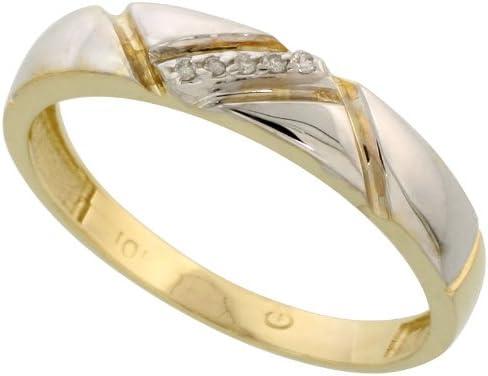 4.5mm 3//16 in. w// 0.03 Carat Brilliant Cut Diamonds Size 9 14k Gold Mens Diamond Band wide
