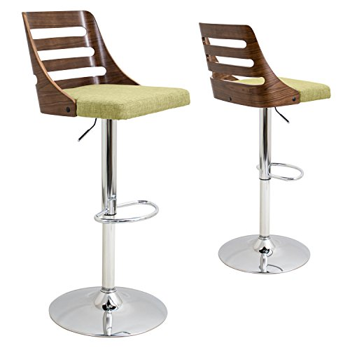 WOYBR BS-TRV WL+GN Wood, Chrome, Polyester Fabric, Foam, Trevi Barstool