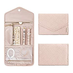 BAGSMART Travel Jewelry Organizer Roll Foldable Jewelry Case for Journey-Rings, Necklaces, Bracelets, Earrings, Soft…