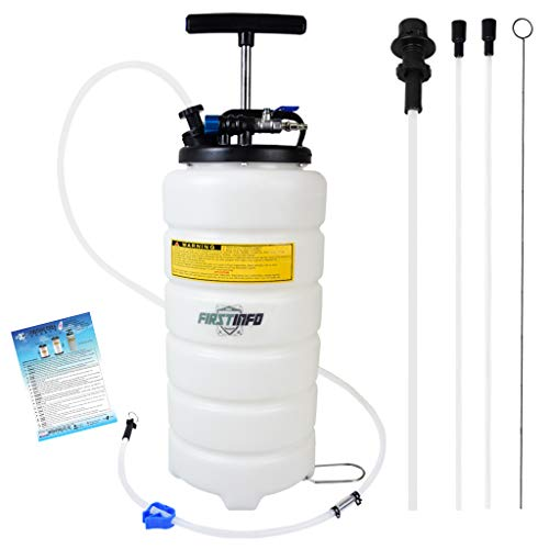 15l Manual - FIRSTINFO 15 Liter Pneumatic Manual Fluid Extractor/Vacuum Oil Pump Includes 6.6 ft Long Silicon Brake Fluid Hose with Check Valve Set (Standard)
