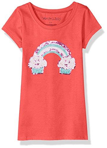 Shorts T-shirt Rainbow (Colette Lilly Big Girls' Short Sleee Sequin Tee, Pink Rainbow, 10/12)