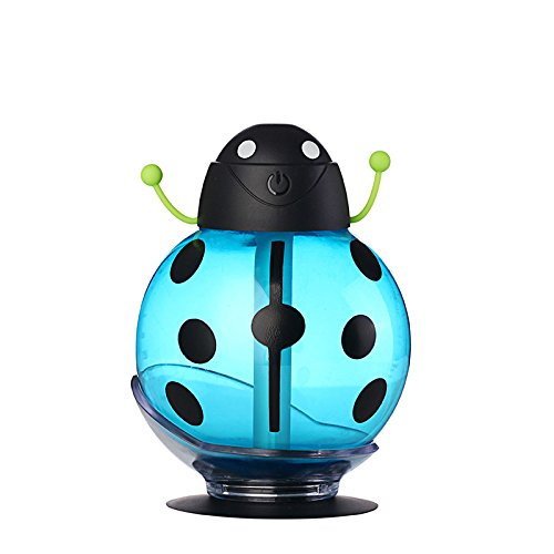 260ml Ladybug Shape USB DC 5V Humidifier Incubator Diffuser Led Mini Air Humidifier Air Diffuser Portable Water Aroma Mist Maker (blue)