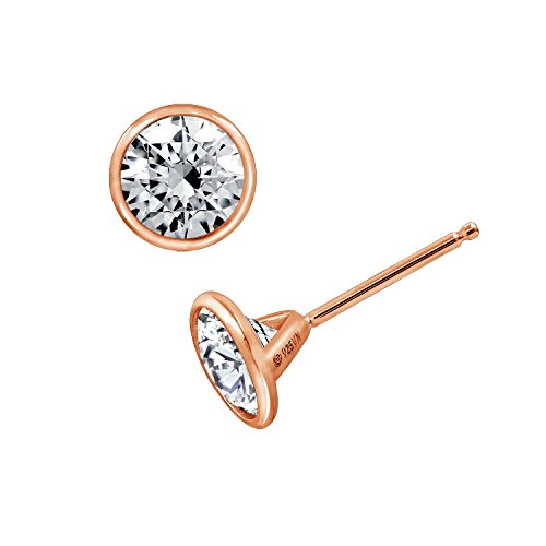 - DIAMONBLISS Clear Round Cubic Zirconia Bezel Set Solitare Earrings, Rose Gold Plated Sterling Silver (2 cttw)