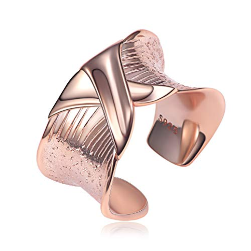 ChicSilver X Criss-Cross Women Rings 14MM Wide Band Cocktail Fashion Rings Rose Gold Plated Sterling Silver Statement Engagement Rings for Women Girls