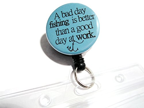 - ATLanyards A Bad Day Fishing is Better Than a Good Day at Work Waterproof Fishing License Holder, Light Blue 37