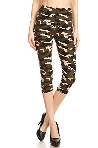 iZZYZX Women's Regular Camouflage Military Look Printed Cropped Capri Leggings - Khaki Olive ()