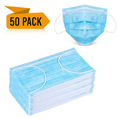 Disposable Masks, Adoric Surgical Masks Premium Soft Flu Mask Medical 3-Ply Cotton Filter for Dust, Pollution, Allergies, Cold, Flu, Bacteria, Dentists and Doctors - 50 Pcs