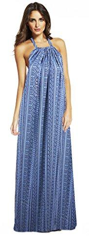 Elan Women's Maxi Goddess Flowy Dress Small Blue