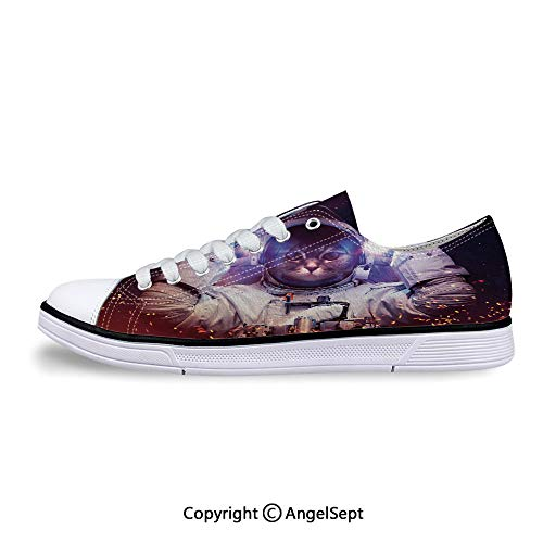 Sneaker Suit Outer Space Nebula Galaxy Flat Canvas Shoes for Womens ()