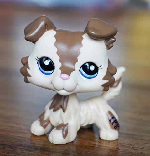 FidgetFidget 2'' #2210 Cream Tan Brown Collie Dog Puppy Littlest Pet Shop Blue Eyes Toy from FidgetFidget
