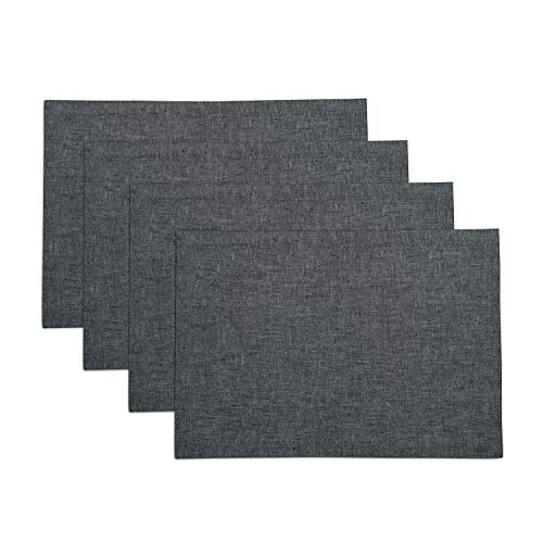 Solino Home Pure Linen Placemats - Charcoal Grey, 14 x 19 Inch Set of 4 Athena - 100% Pure Linen Natural Fabric - Handcrafted Machine Washable