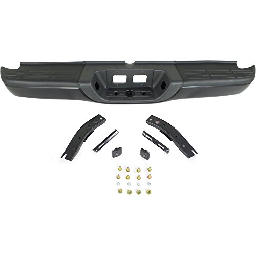 Rear Step Bumper Compatible with Toyota Tundra 2000-2006 Assembly Powdercoated Black Steel Fleetside ()