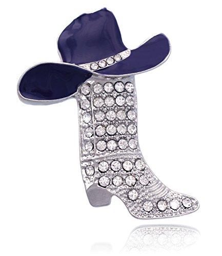 Western Cowboy Cowgirl Hat Boot Brooch Pin Women Fashion Jewelry (Purple)