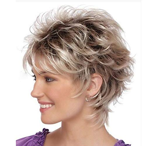 LANDI Short Blonde Wigs for White Women Red Brown Mixed Blonde Bob Hair Wigs with Bangs Natural Synthetic Full Wig for Women Lady with Wig Cap (Light Blonde mixed Red -